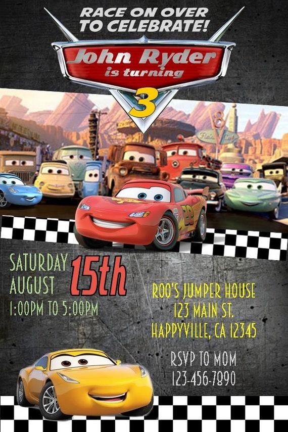 Cars 3 Birthday Invitation Lightning McQueen