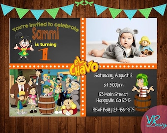 El Chavo Animated Birthday Invitation With Picture, Digital File, DIY Printing