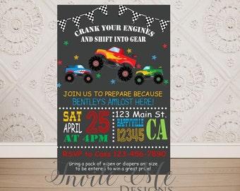 Monster Trucks Baby Shower Invitation, Trucks Birthday Invitations, Chalkboard Style Trucks invitation, Digital File