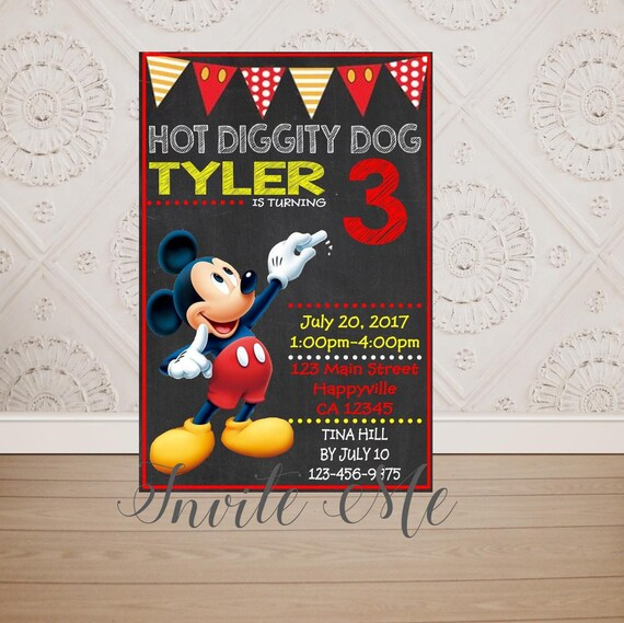 Mickey Mouse Chalkboard Style Birthday Invitation Etsy