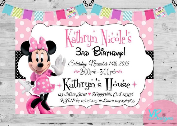 Minnie Mouse Birthday Invitation Party