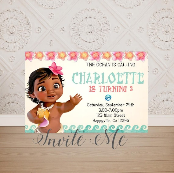 Baby Moana Birthday Invitation Toddler