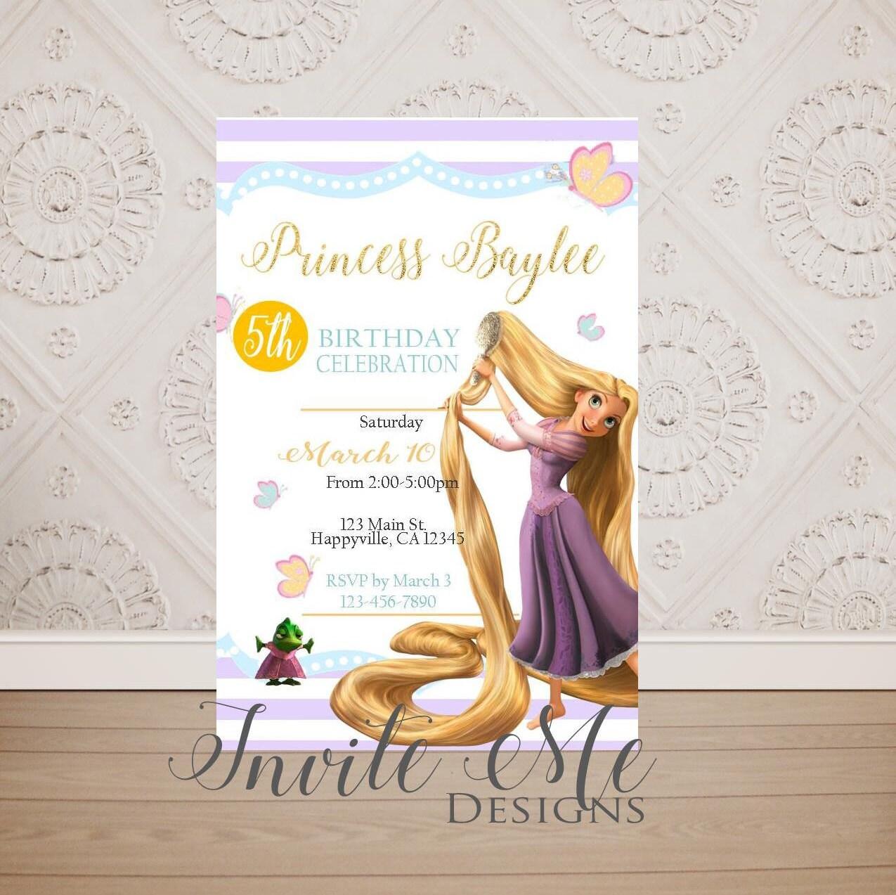 Tangled Birthday Invitation Rapunzel Birthday Invitation   Etsy