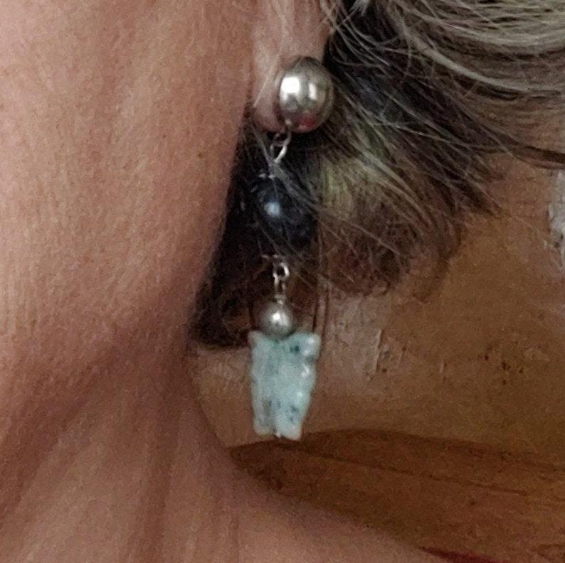 unique lava earrings black lava butterfly earrings DROP EARRINGS with light blue semiprecious stone butterflies cute earrings