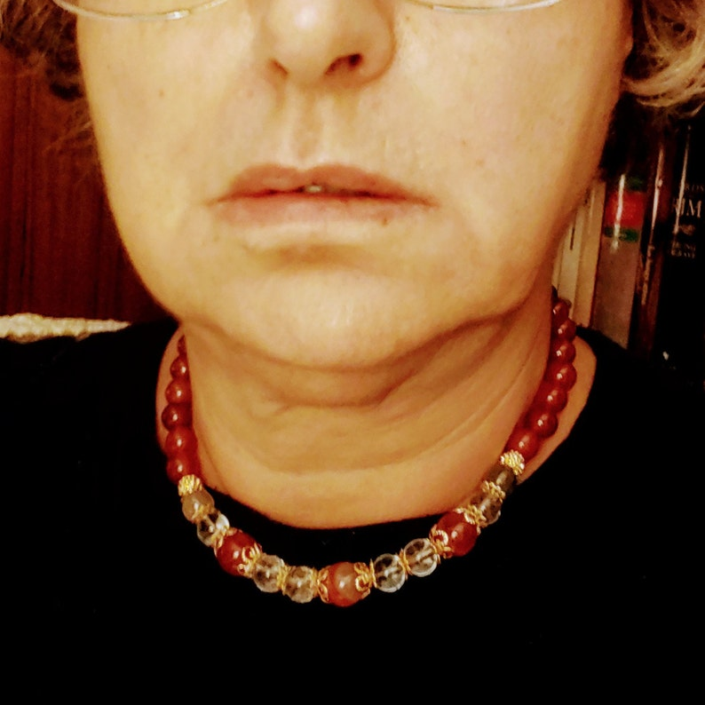 autumn warm shades evergreen for the afternoon CHOKER in carnelian and rock crystal Thanksgiving made in Italy tea-time one-piece
