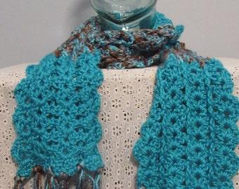 Aqua/Brown lace stitch scarf with fringe