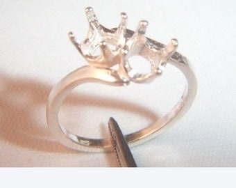 4mm 7mm Rd Pre-Notched Sterling Silver By-Pass Solitaire Ring Setting Sz 5-8