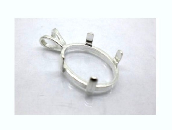Oval Solid Sterling Silver Pendant Setting 6x4mm - 30x22mm