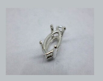 8x4mm - 20x10mm Pre-Notched Sterling Silver Marquise Dangle Setting