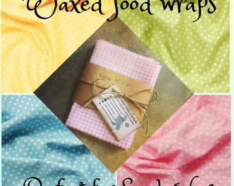 Waxed Fabric Sandwich Wrap • Food Safe Wrap • Food Storage Wrap • Eco Friendly • Vegan Option • Beeswax Wrap • Soywax Wrap • Reusable Wrap