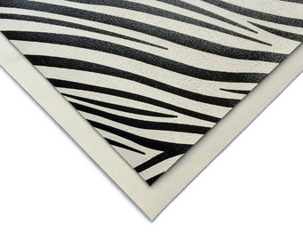 BLACK /& WHITE leather print Real lambskin leather ZEBRA skin print 848 2.5 oz