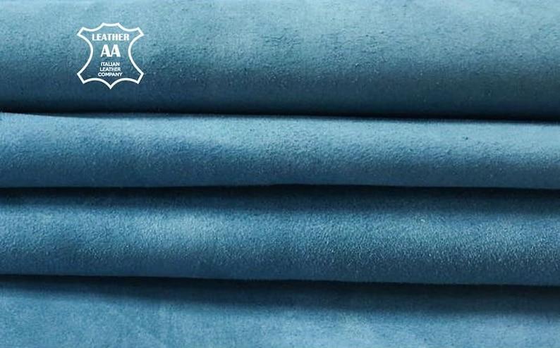 f59629e0781f Light BLUE suede fabric Blue genuine sheep suede Real Lamb