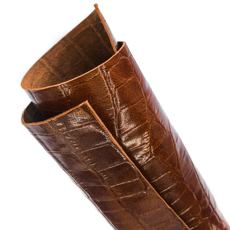 Chocolate Brown Crocodile Leather Sheet 12x12in30x30cm Genuine Shiny Leather BROWN CROCODILE 914 2oz0.8mm