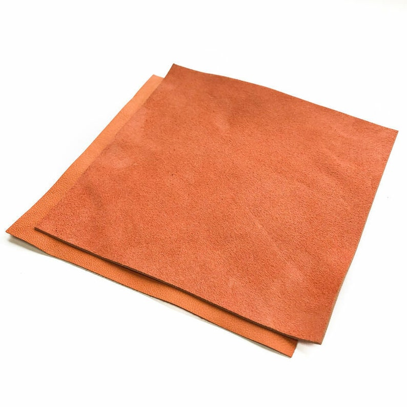 Orange Suede Leather 6x6in15x15cm Sheets  Summer Color  Soft Velour Scraps  Genuine Earring Leather Pieces Langoustino 915 1.2mm  3 oz