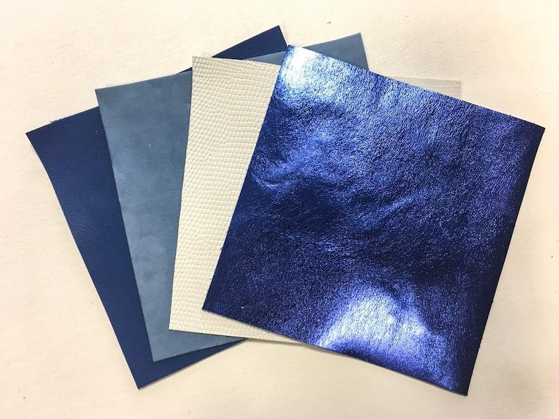 28cdf49e55ec SNOW QUEEN Leather Scraps 5x5 inches Blue leather hide piece 4