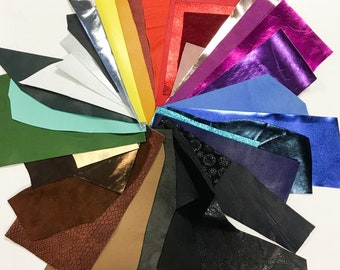 MIX Leather Scraps Colorful leather fabric pieces Precut DIY leather scrap packs Genuine leather fabric Earring material Napa/suede/Print