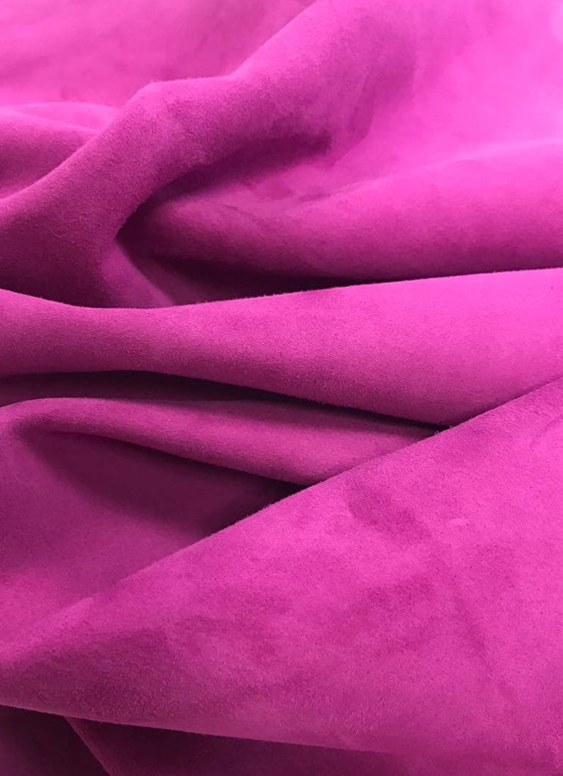 PINK Suede fabric Genuine sheep skin sheets for sewing VIVID VIOLA 2oz Purple Suede material for crafting Purple Leather Soft Leather pieces