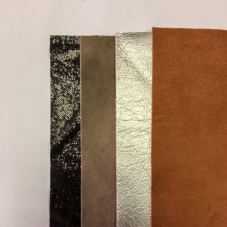 champagne gold leather sheets for crafts mix of brown scrap leather 5x5i n ROOSTER Brown suede 4 pieces black metallic with bronze shine