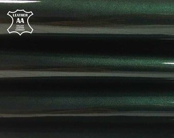 GREEN patent leather colored leather lambskin hide shiny leather material deep green patent leather glossy fabric GREEN LACQUER 639, 1.0 mm