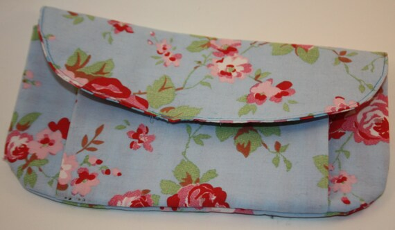 cath kidston blue vintage rose large pleated pouch etsy. Black Bedroom Furniture Sets. Home Design Ideas