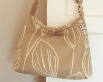 Leaf Print Slouchy Messenger Bag, Beautiful, Cross body Beige Jute Upholstery, Limited Edition Handbag gift for her, FREE keyring bag charm
