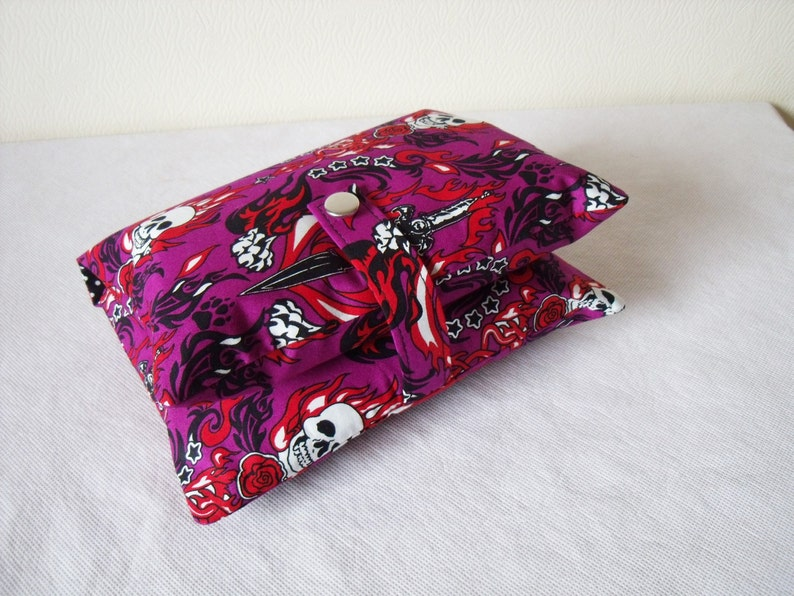 5b7778a82338 Nappy Wallet in Purple Skulls, Daggers & Flames Tattoo style Cotton Fabric  - Mother and baby, Funky, Gothic, baby shower gift, for mums