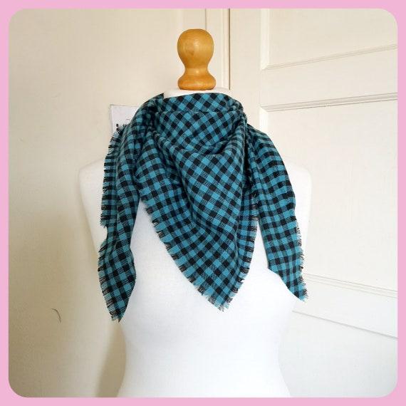 35482898878 Check Scarf / shawl triangle shape soft plaid fringed brushed cotton scarf  teal black handmade gift, machine wash single thickness