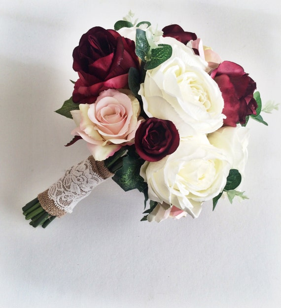 Wedding Bouquets Not Flowers: Silk Wedding Flowers // Marsala Wedding Bouquet // Bridal