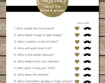 black and white stripedgold glitter ten questions bridal shower wedding game