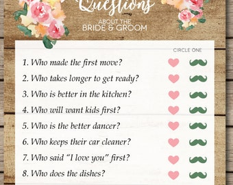 rustic watercolor floral and wood ten questions bridal shower wedding game