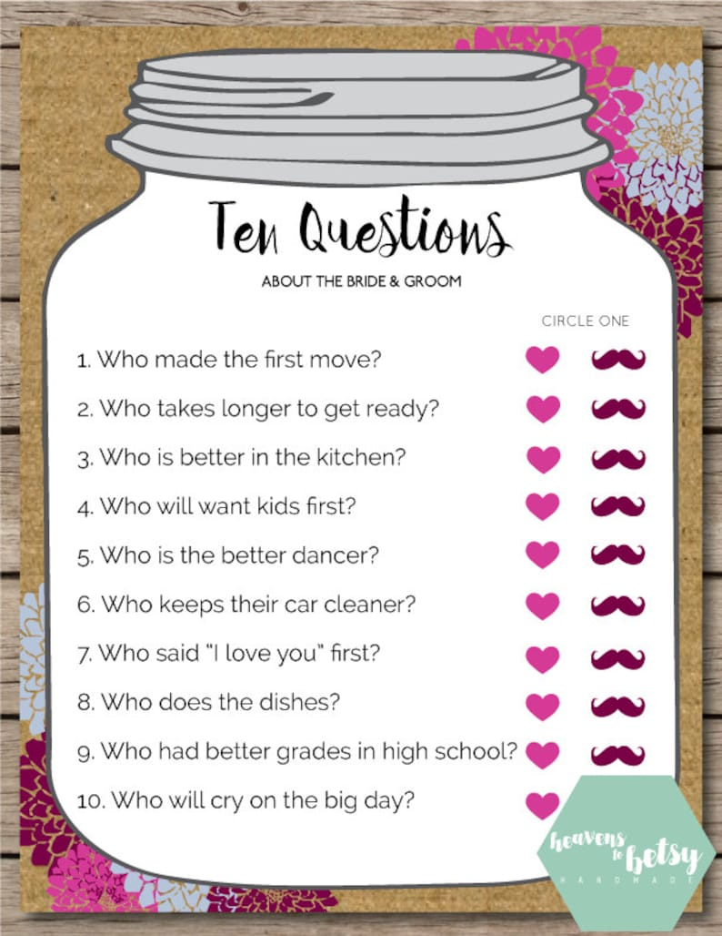 Mason Jar Ten Questions Bridal Shower & Wedding Game | Etsy