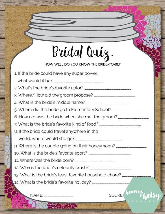 Mason Jar Bridal Quiz Bridal Shower & Wedding Game