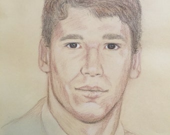 """Portrait of Mr. Right. Dated 11/1993.  Size is 16"""" x 20"""" unframed."""