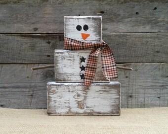 Wooden Snowman Etsy