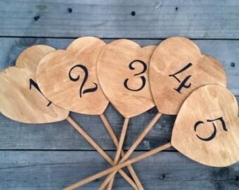 10 Rustic Wedding Table Numbers, Rustic Wedding Decor, Wedding Centerpiece, Wooden Hearts Table Numbers, Rustic Table Decor