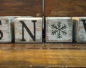 Hand Painted and Distressed SNOW Wooden Block Set, Rustic Winter Decor, Rustic Wedding Decor, Shelf Sitter Blocks, FREE SHIPPING