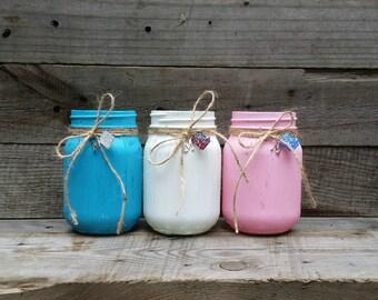 Distressed Mason Jars, Rustic Wedding Decor, Personalized Charm Jars, Wedding Centerpiece, Rustic Home Decor, Baby Shower Decor, Set of 6