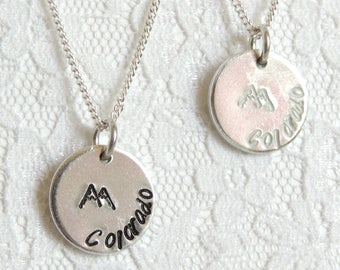 Colorado Mountains Necklace - Hand Stamped, Colorado, Jewelry, Rocky Mountains, Pike's Peak, 14ers, Timberline