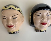 Vintage Asian Girl Boy Ceramic Wall Pocket Face Planters Unique Rare Set Of 2