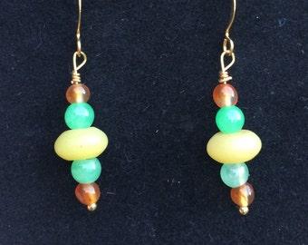 Earrings- yellow, green and gold dangle