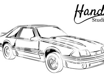 mustang clipart etsy Mustang Mach 2 the fox body mustangg inspired by 1988 mustang gt unique vector design by handr digital svg file package instant download