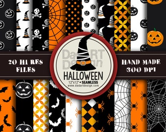 Halloween Patterns - Digital Paper Pack 05 - 20 printable sheets - scrapbook, party craft, printing, hi res downloads