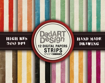 """Retro damaged strips patterns digital paper - vintage grunge distressed colors and surfaces - 12 Sheets 12""""x12"""""""