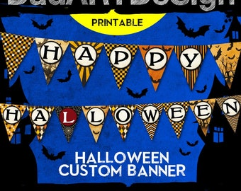 Halloween pennant banner - printable vintage alphabet - instant download 74 letters and numbers high resolution files