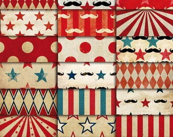 Circus Vintage Patterns Digital Paper Pack 01  |  Wallpapers  |  backgrounds  |  scrapbook supplies  |  clipart  |  instant download