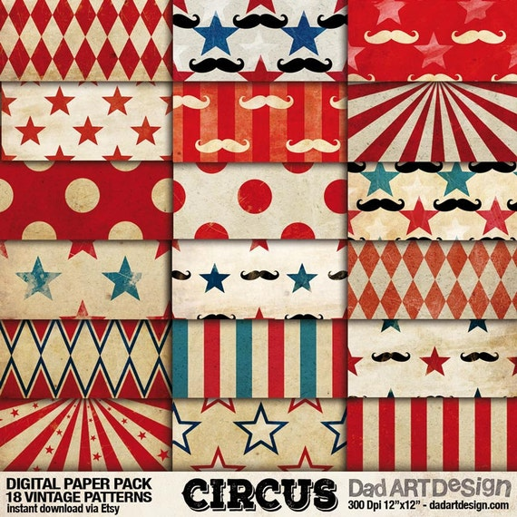 Circus Vintage Patterns Digital Paper Pack 01 Wallpapers Backgrounds Scrapbook Supplies Clipart Instant Download