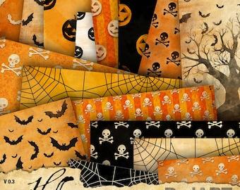 Vintage Halloween Patterns Digital Paper Pack 16 sheets - V03