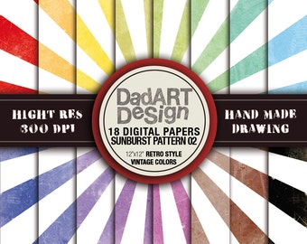 Retro SunBurst Ray Patterns digital paper 02 - vintage colors and surfaces - 18 Sheets - wallpaper