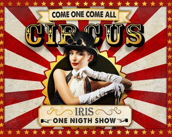 Custom Vintage Circus Poster - Personalized with your texts and photo.