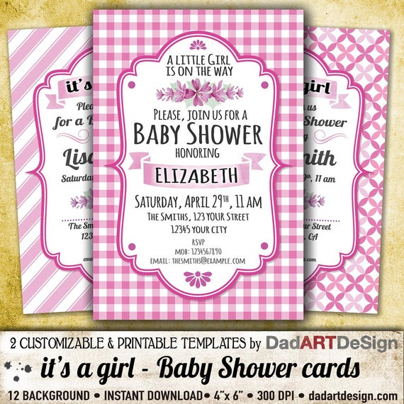 It S A Girl Baby Shower Invitation Card Easy To Customize